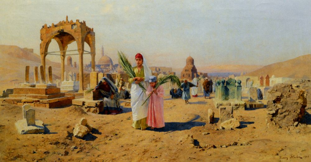Figures Bearing Palm Leaves on the Outskirts of Cairo :: Franz Xavier Kosler - scenes of Oriental life (Orientalism) in art and painting ôîòî