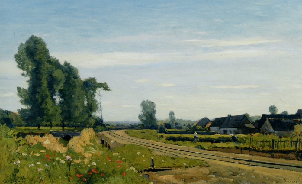 The railway at St Prive :: Henri-Joseph Harpignies - Landscapes фото