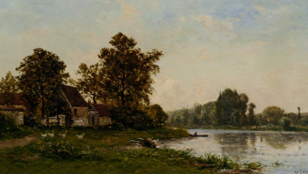 Washerwoman by the River :: Hippolyte Camille Delpy - Village life ôîòî