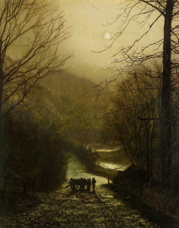 Forge Valley Near Scarborough :: John Atkinson Grimshaw - Night landscapes фото