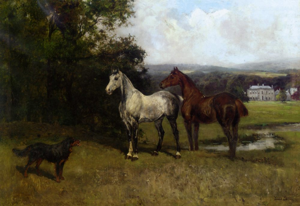 The Colonels Horses and Collie :: John Emms  - Horses in art фото