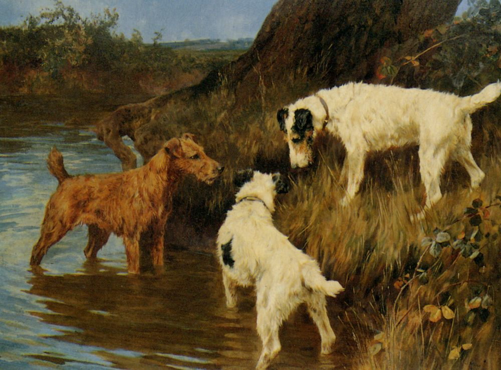 Three Terriers on the Scent :: Arthur Wardle - Hunting scenes ôîòî