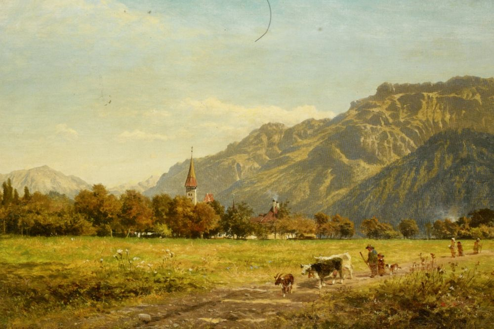 A Fine Autumn Day at Interlaken :: Benjamin Williams Leader - Landscapes with cows фото