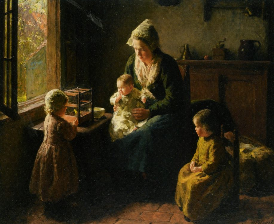 Watching the Canary :: Bernard Jean Corneille Pothast - Woman and child in painting and art фото