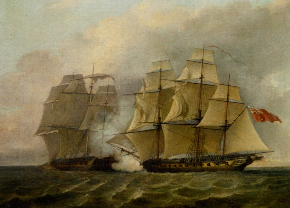 The Battle Between Chesapeake and the Shannon :: Charles Brooking - Seascape with ships фото