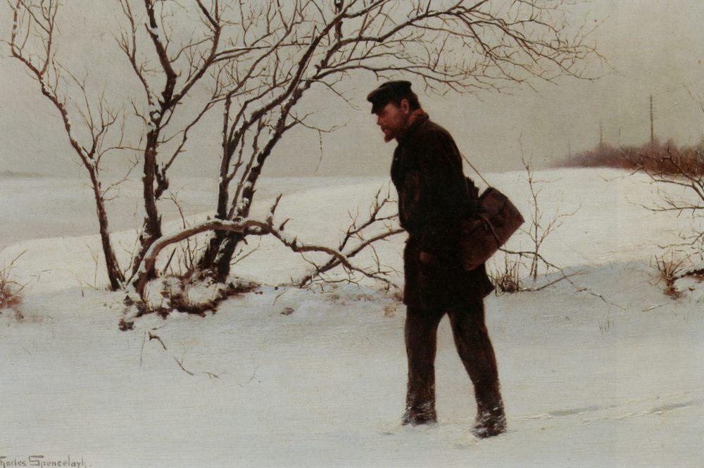 A Winter Traveler :: Charles Spencelayh - winter landscapes ôîòî