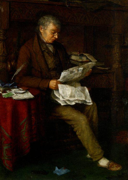 Reading the Standard :: Charles Spencelayh  - men's portraits 20th century ôîòî