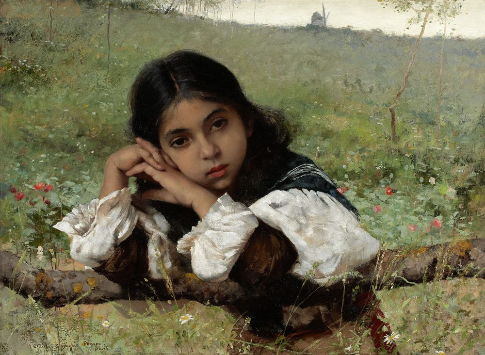 Moments of Thoughtfulness :: Charles Sprague Pearce - Portraits of young girls in art and painting фото