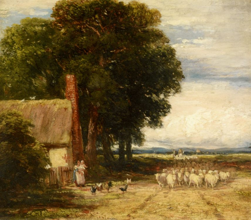 Landscape with a Shepherd and Sheep :: David Cox - Summer landscapes and gardens фото