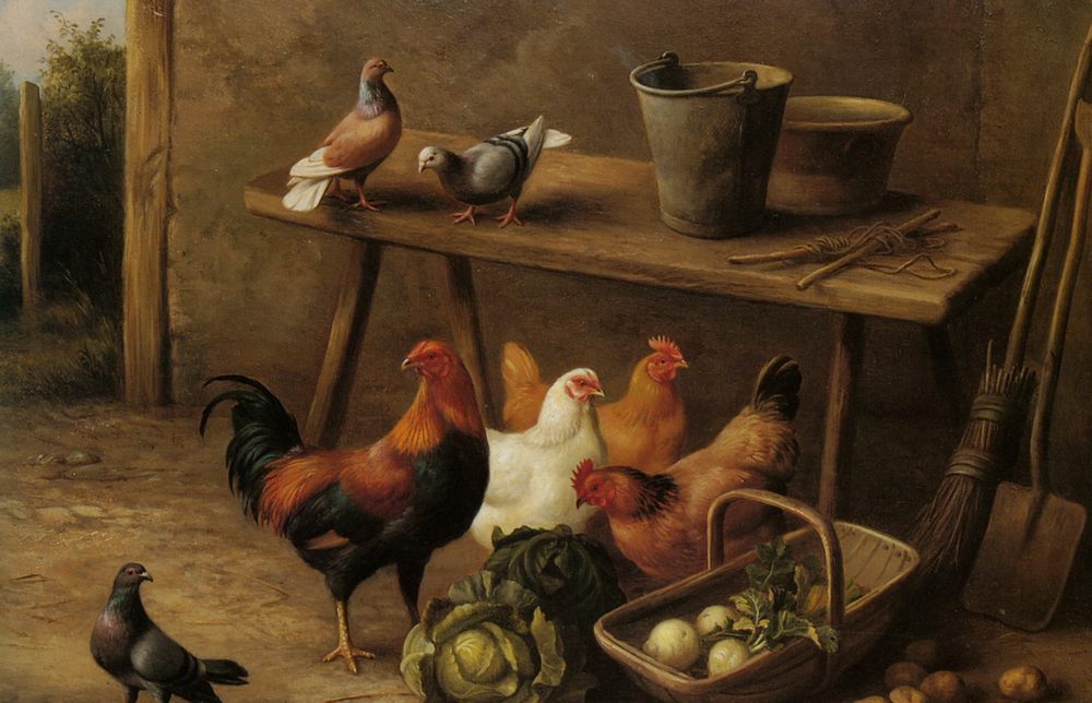 Chickens and Pigeons in a Farmyard :: Edgar Hunt - Animals фото