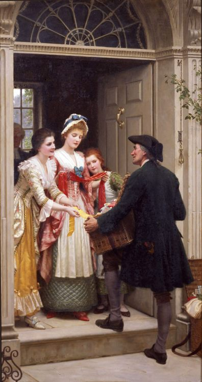 Ribbons and Laces for Very Pretty Faces :: Edmund Blair Leighton - Romantic scenes in art and painting ôîòî