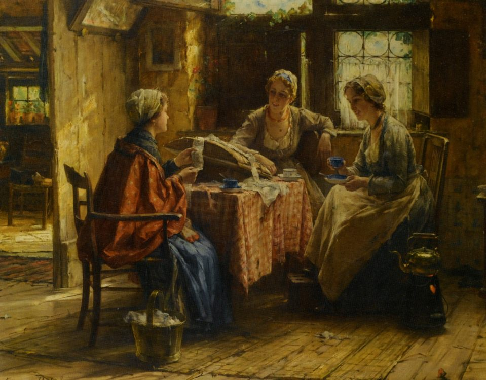 Working the Lace :: Edward Antoon Portielje - Interiors in art and painting ôîòî