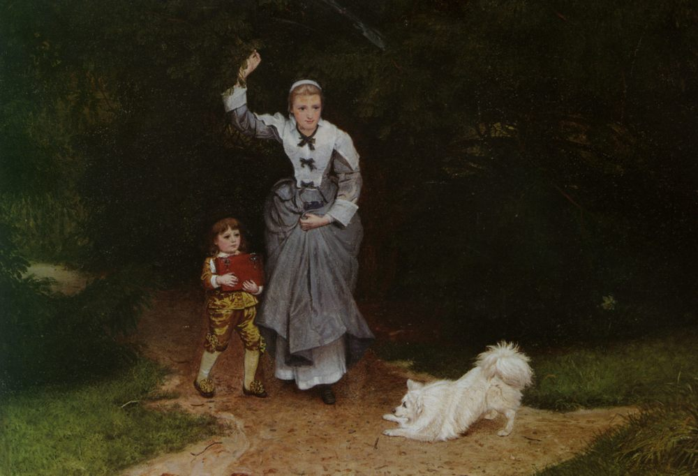 The Playful Pet :: Edward Killingworth Johnson - Woman and child in painting and art фото