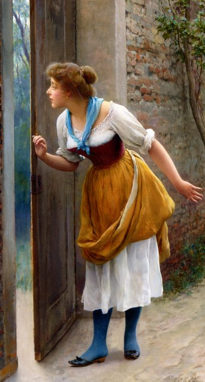 The Eavesdropper :: Eugene de Blaas - Romantic scenes in art and painting фото
