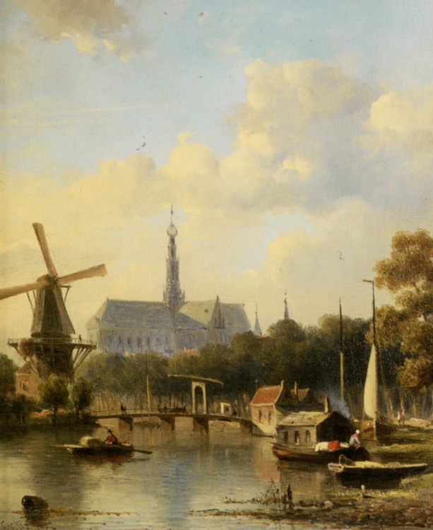 A View of Haarlem with St Bavo Cathedral from the River :: Everhardus Koster - Holland and Dutch фото