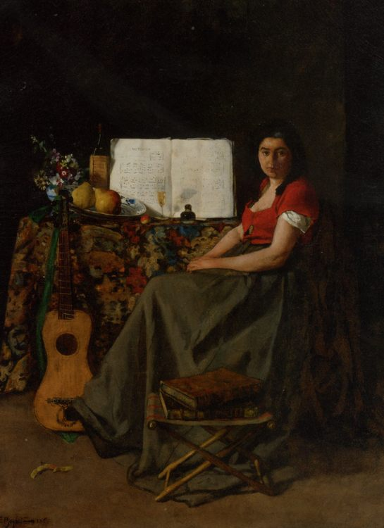The Guitar Player :: Ferdinand Roybet - 6 woman's portraits hall ( The middle of 19 centuries ) in art and painting фото