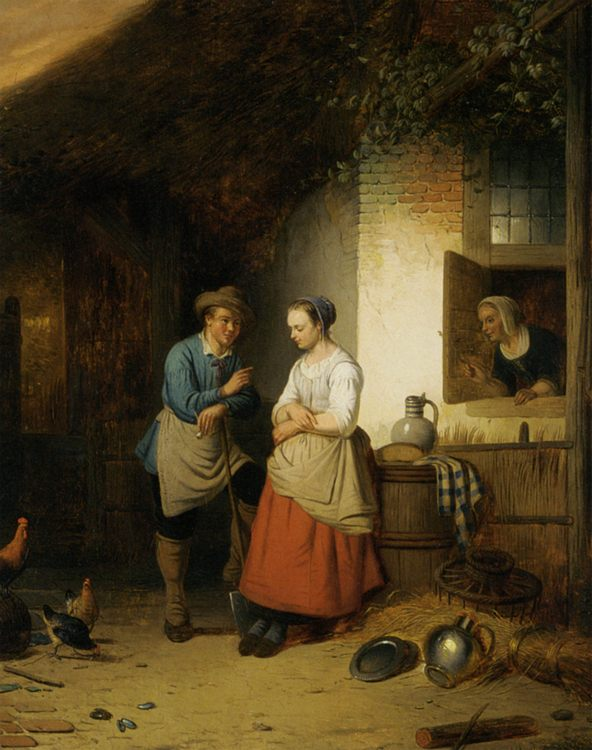 The Courtship :: Adrien Ferdinand De Braekeleer - Romantic scenes in art and painting фото