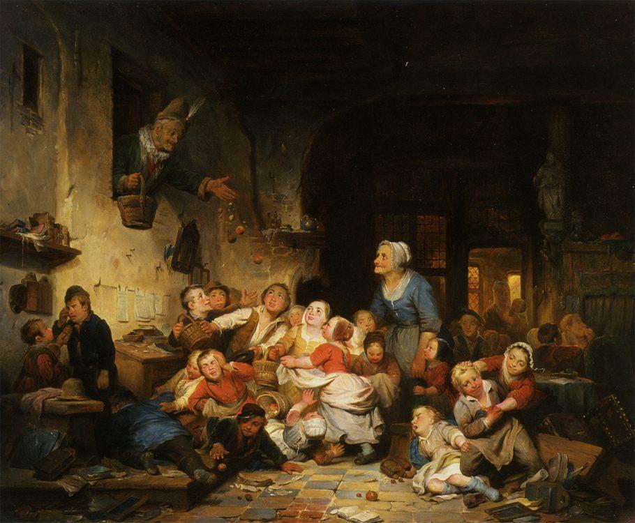 The Village School :: Adrien Ferdinand De Braekeleer - Village life ôîòî