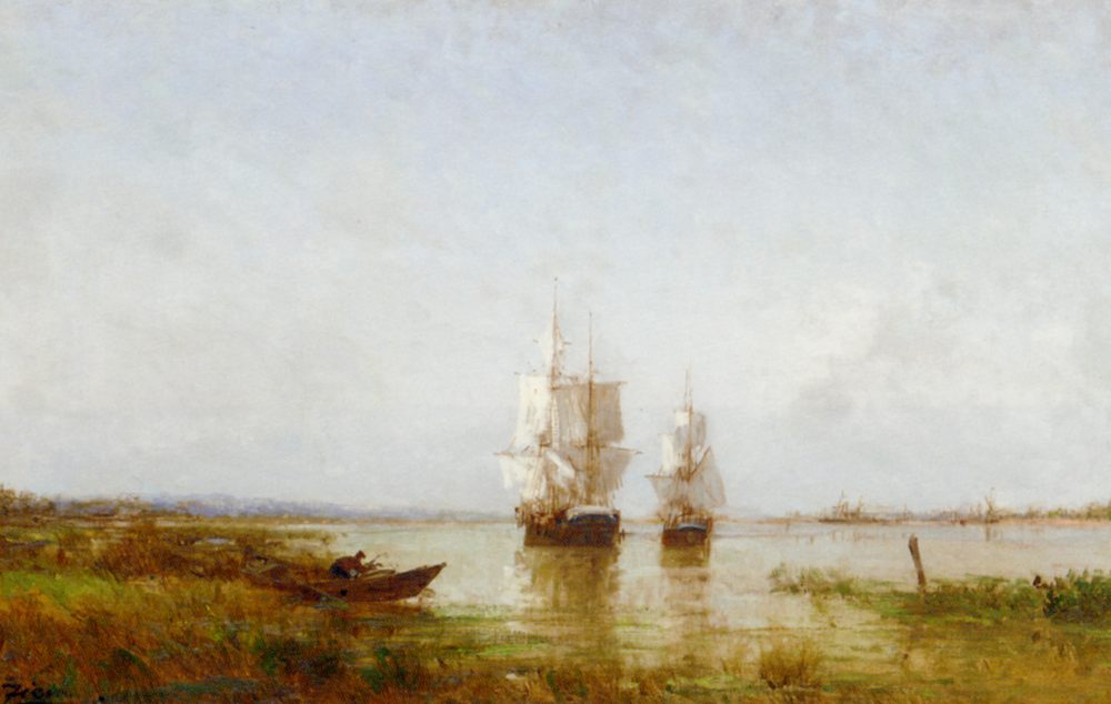 The Evening Calm :: Felix Francois Martigues Zeim - Sea landscapes with ships ôîòî
