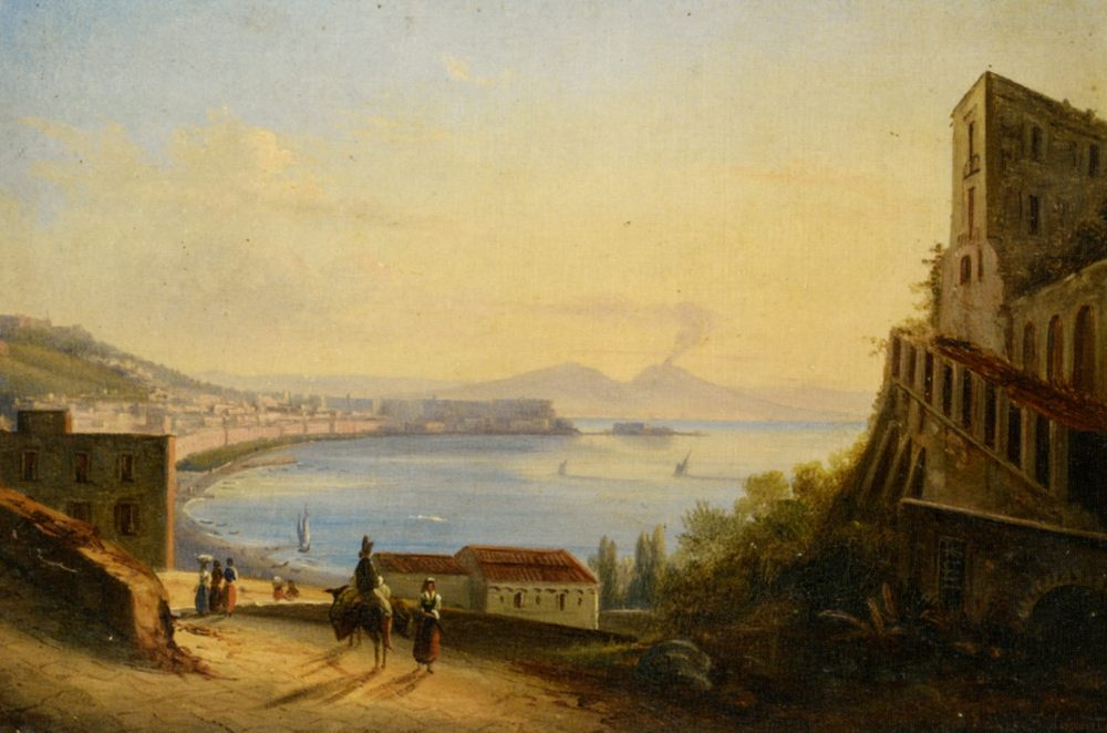 View of Naples from Fosillipo :: Giacinto Gigante - Coastal landscapes фото