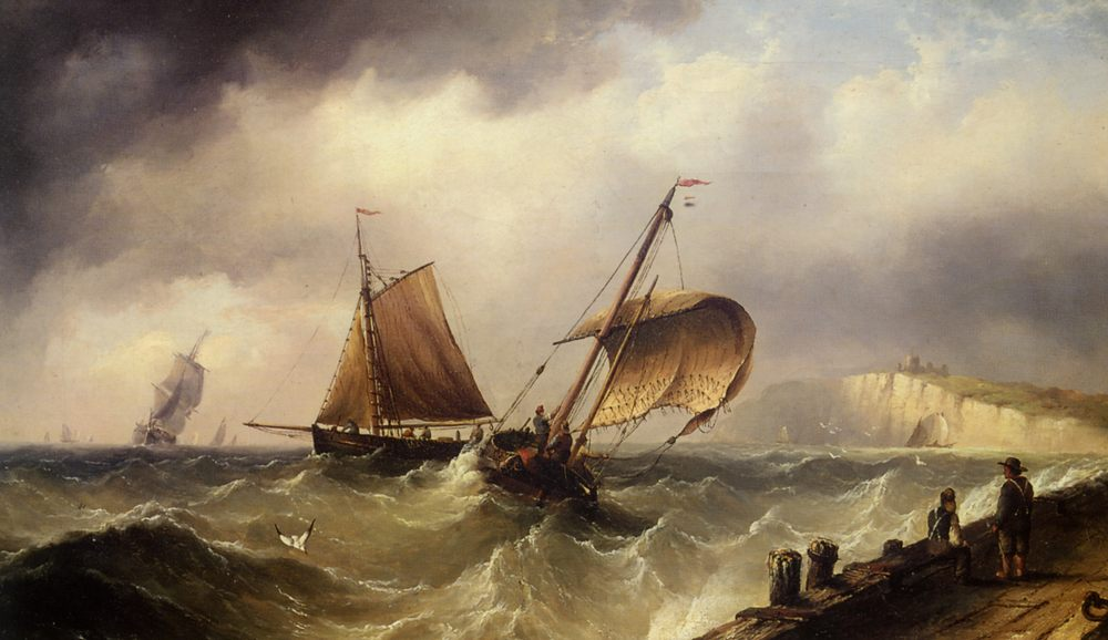 Fishing Vessels In Choppy Seas :: Henry Redmore - Sea landscapes with ships фото