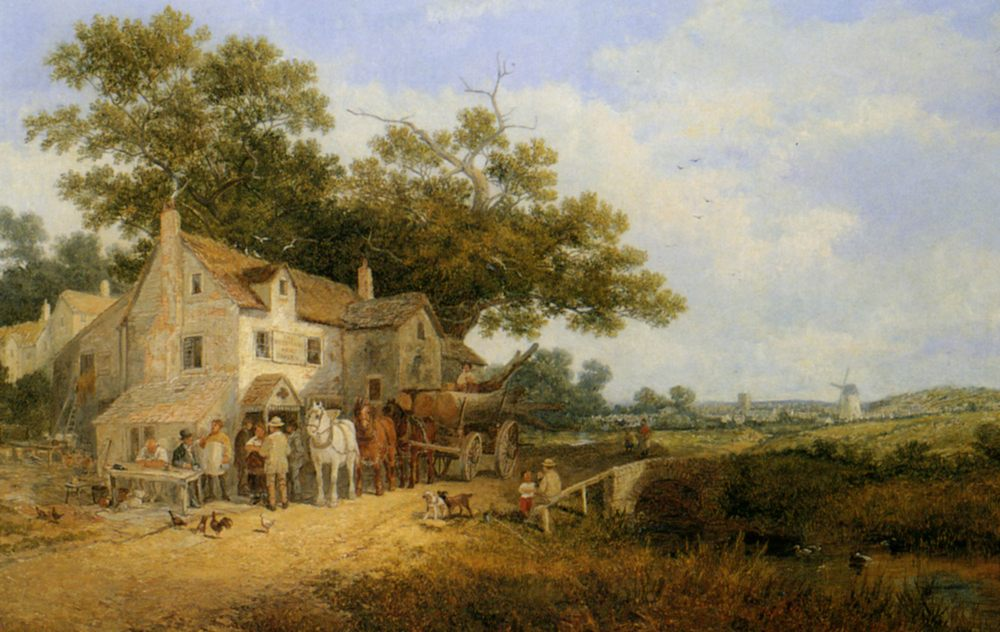 Outside the Woodmans Arms :: James Edwin Meadows - Summer landscapes and gardens ôîòî