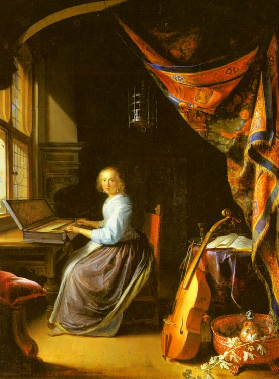 A Woman playing a Clavichord :: Gerrit Dou - Rich interiors фото