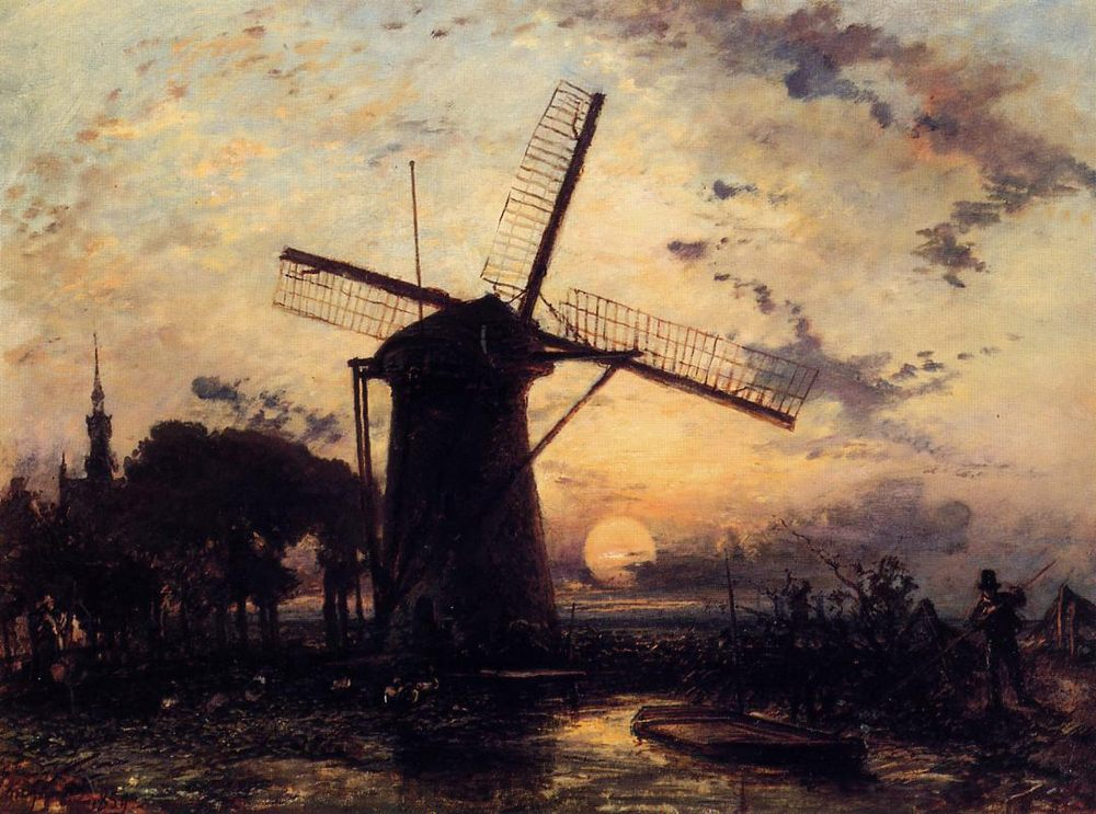 Boatman by a Windmill at Sundown :: Johan Barthold Jongkind  - Sunset and sunrise, sundown фото
