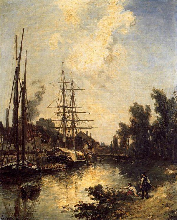 Boats Dockside :: Johan Barthold Jongkind - Sea landscapes with ships фото