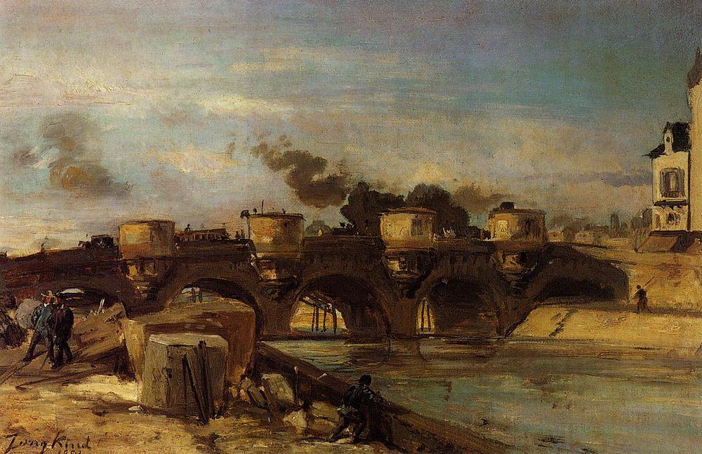 Fire on Pont Neuf :: Johan Barthold Jongkind - Streets фото