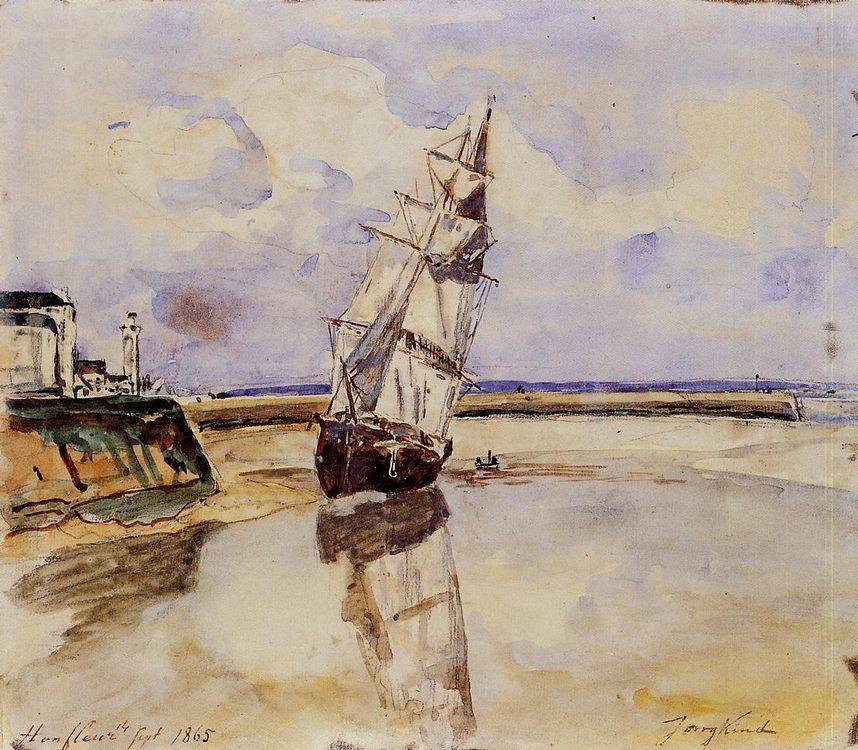 Honfleur :: Johan Barthold Jongkind - Sea landscapes with ships фото