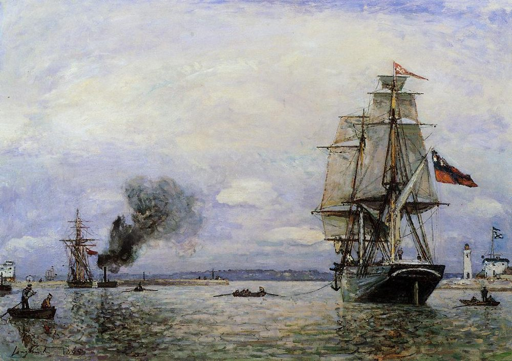 Leaving the Port of Honfleur :: Johan Barthold Jongkind - Sea landscapes with ships фото