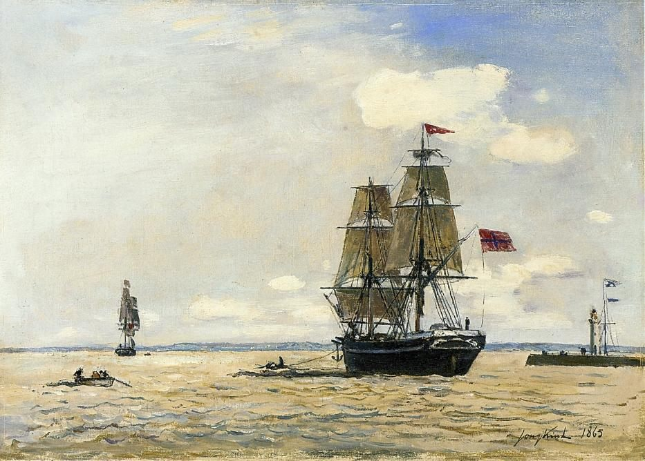 Norwegian Naval Ship Leaving the Port of Honfleur :: Johan Barthold Jongkind - Seascape with ships фото