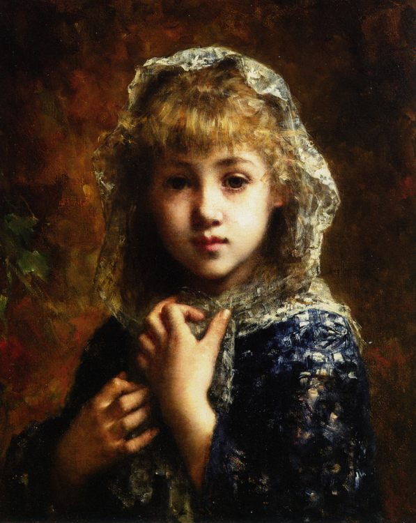 A Young Beauty :: Alexei Alexeivich Harlamoff - Portraits of young girls in art and painting ôîòî