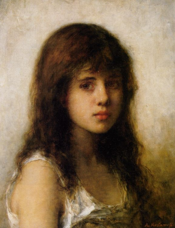 Portrait of a Young Girl :: Alexei Alexeivich Harlamoff - Portraits of young girls in art and painting фото