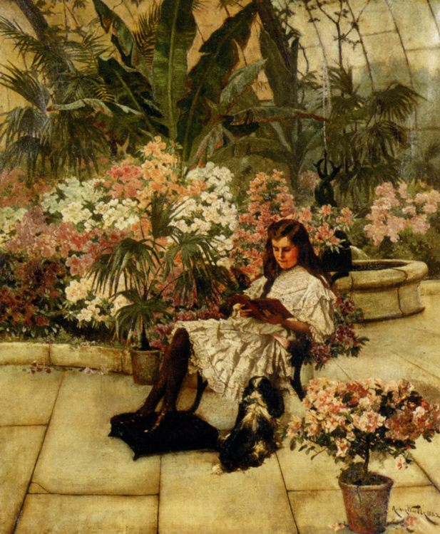 In The Conservatory :: Arthur Wardle - Summer landscapes and gardens ôîòî