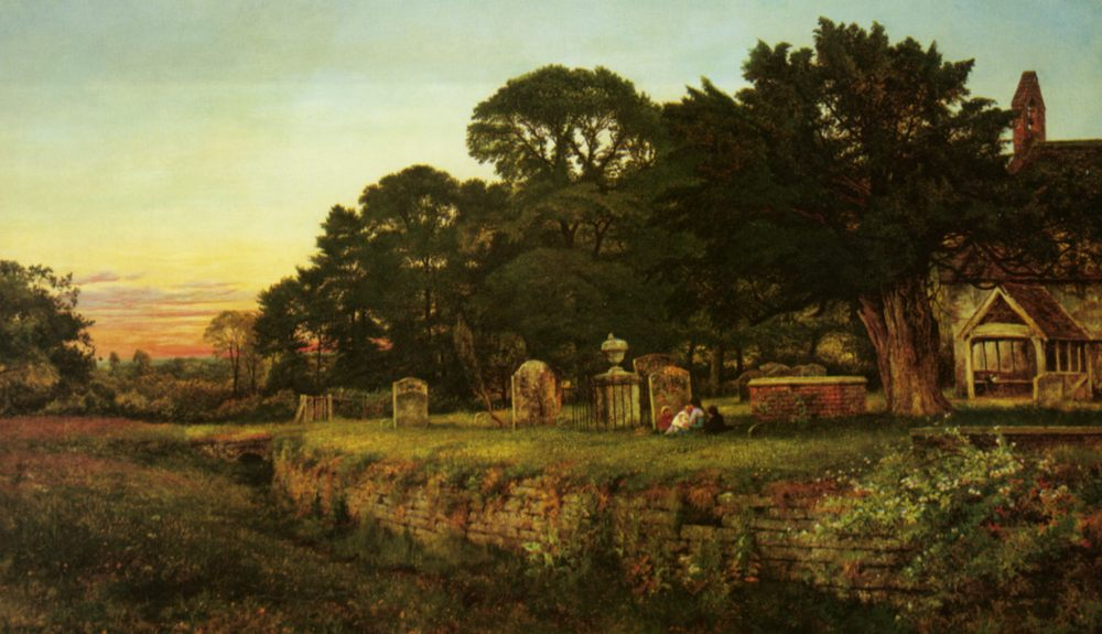 In A Country Churchyard :: Benjamin Williams Leader - Rural houses ôîòî