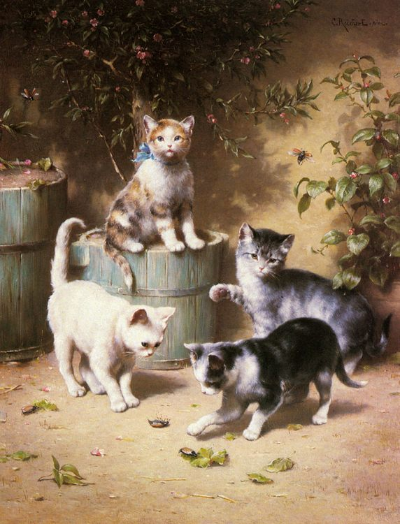 Kittens Playing with Beetles :: Carl Reichert - Cats фото