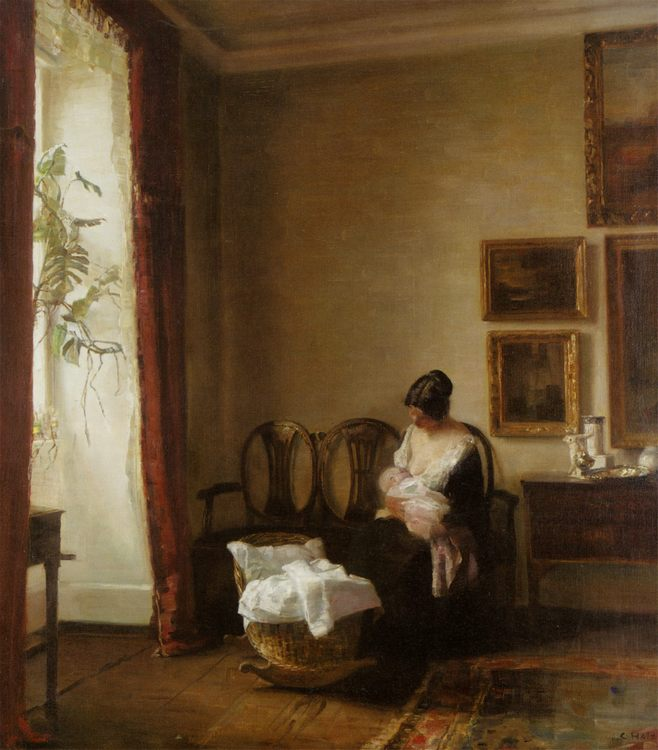 Lactation :: Carl Vilhelm Holsoe  - Woman and child in painting and art фото