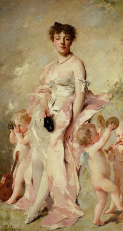 An Elegant Beauty :: Charles Chaplin - Woman and child in painting and art ôîòî