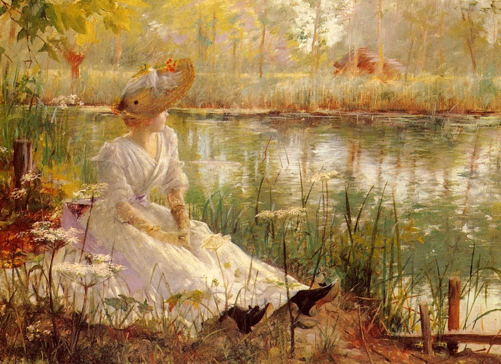 A Beauty By A River :: Charles James Theriat - Summer landscapes and gardens ôîòî