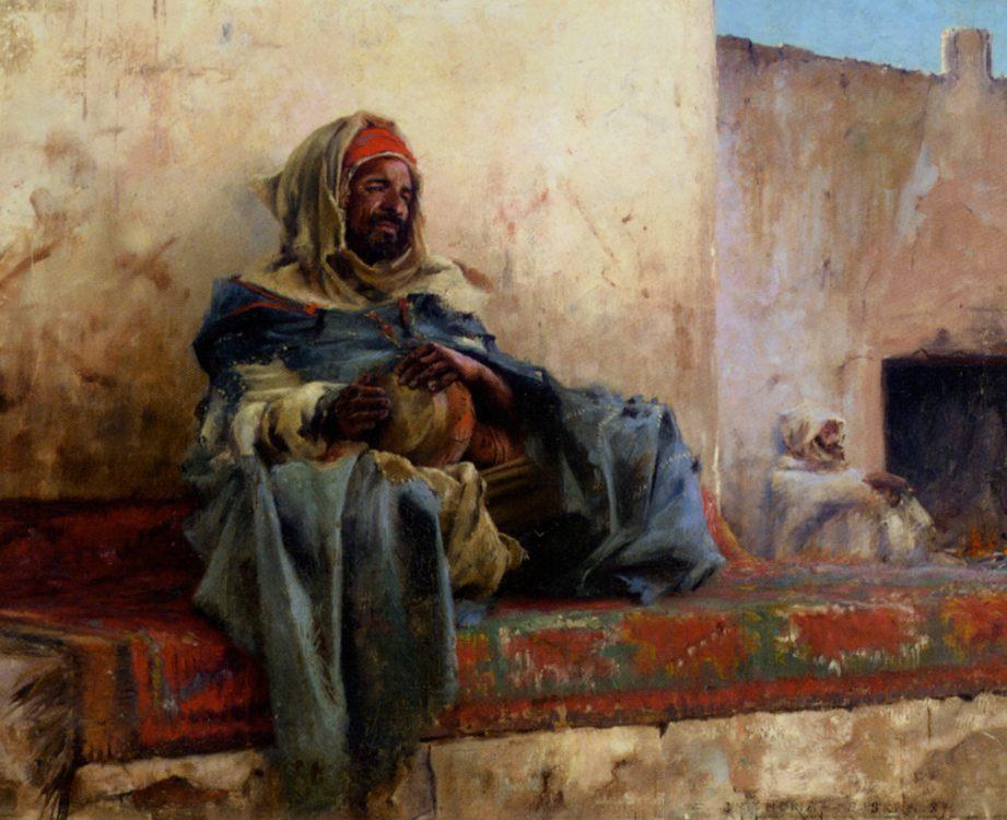 Playing the Derbakeh, Biskra :: Charles James Theriat - scenes of Oriental life (Orientalism) in art and painting ôîòî