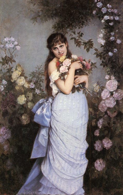 A Young Woman in a Rose Garden :: Auguste Toulmouche  - 6 woman's portraits hall ( The middle of 19 centuries ) in art and painting фото