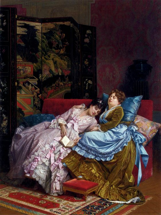 An Afternoon Idyll :: Auguste Toulmouche - Interiors in art and painting фото