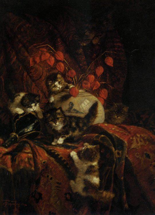 Kittens At Play :: Cornelis Raaphorst ( Still-life with kittens ) - Still Lifes ôîòî