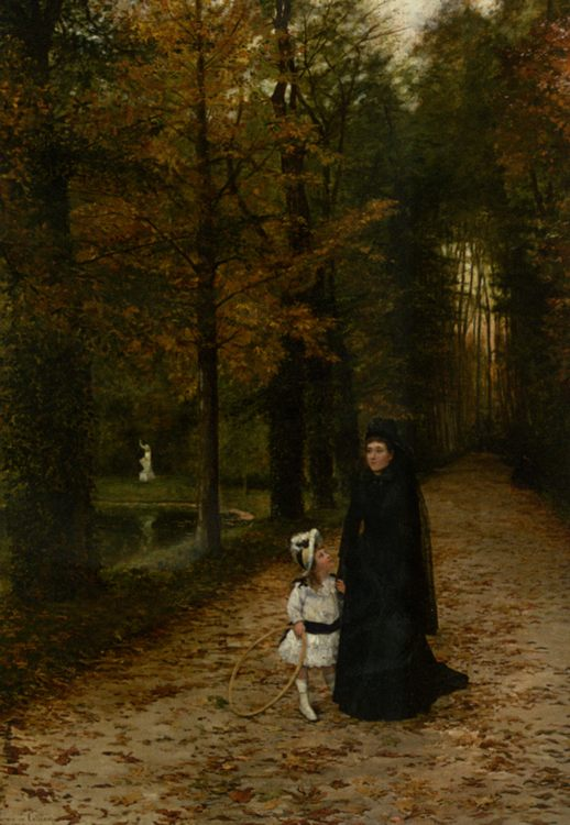 The walk in the park :: Horace de Callias - Woman and child in painting and art фото