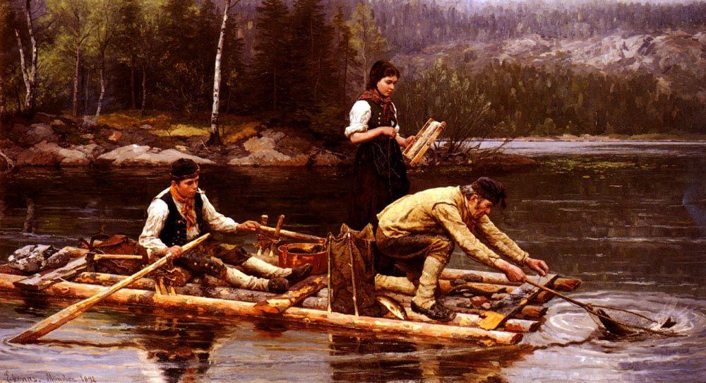 Catching Fish On A River :: Jahn Ekenaes  - Fishing scenes ôîòî
