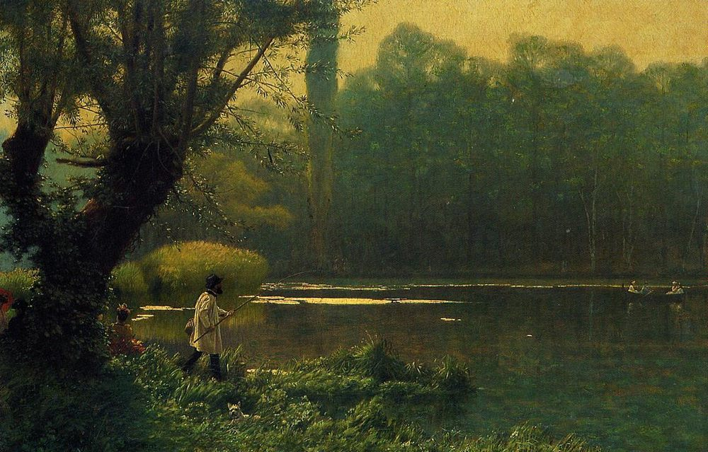 Summer Afternoon on a Lake :: Jean-Leon Gerome - Fishing scenes фото