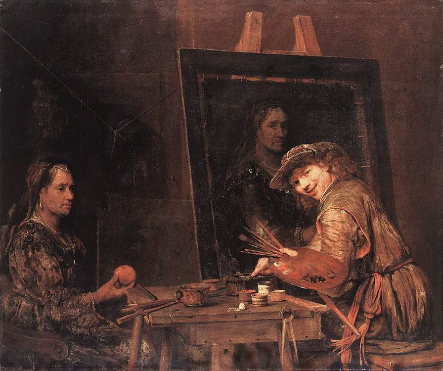 Self-Portrait at an Easel Painting an Old Woman :: Aert de Gelder - man and woman ôîòî