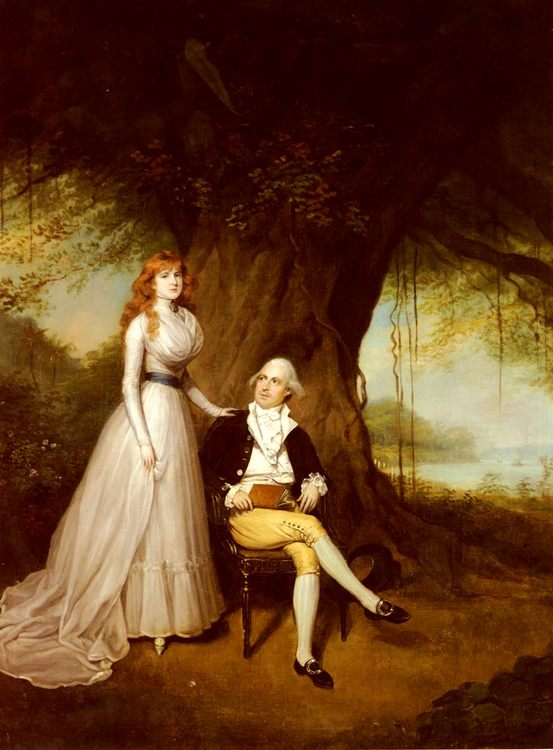 Portrait Of Robert Grant And His Wife, Elizabeth :: Arthur William Devis - man and woman фото